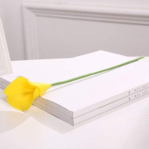 Jun7L Calla-Lilie - künstliche Latex-Blumen für Blumengestecke, Brautsträuße und Heimdekoration, 10 Stück Gelb 39X9X6CM