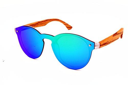 Vagance randlose Sonnenbrille mit Echtholz Bügeln aus Zebraholz (Grün)