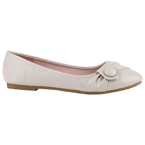 Creme Ballerinas (Klassische Damen Ballerinas Basic Flats Leder-Optik Slipper Spitze Lack Ballerina Knopf Denim Schuhe 141393 Creme Knopf 38 Flandell)