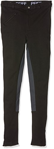 PFIFF Kinder Reithose Vollbesatzhose, Schwarz (Black/Gray), 164