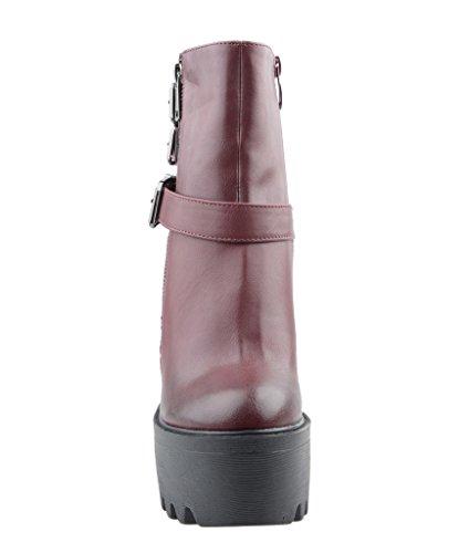 Eyekepper Chaussure a fermeture glissiere femme demoiselle - chaussures botte a talon haut Bordo