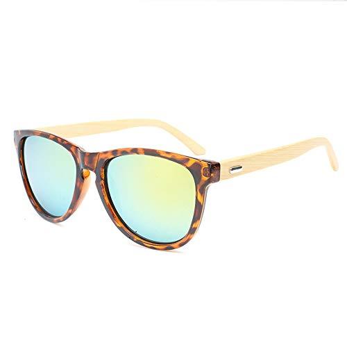 Easy Go Shopping Männer Frauen Bambus Beine Gläser Bunte Sonnenbrillen Mode Bambus Füße Sonnenbrillen Sonnenbrillen und Flacher Spiegel (Color : Gold, Size : Kostenlos)