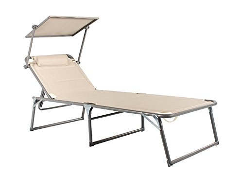 Mar WEH aluminio Tumbona de jardín XXL con techo