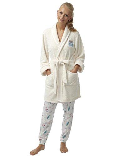 Meine Damen geprägte Flanell Fleece Kurze Robe Campa Van Applique Elfenbein-M (Damen-robe Flanell)