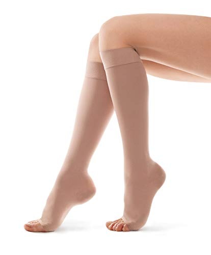 Calze elastiche a compressione graduata-calze elastiche-unisex 23-32 mmhg-punta aperta x-small beige