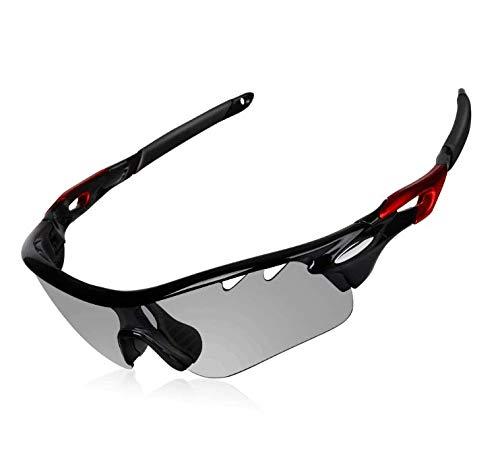 DEKINMAX Gafas Ciclismo Protección UV Gafas de Sol Ligeras con Gafas Correa para Deportes BTT Moto Pesca Playa Golf Senderismo (Gris Claro)