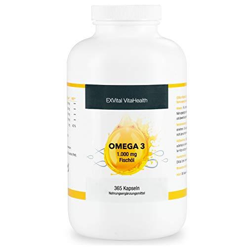 Omega 3 Softgel-Kapseln, 1000mg Fischöl davon 360mg Omega Fettsäuren, 180mg EPA, 120mg DHA pro Tagesdosis, hochdosiert, 365 Kapseln als Jahresvorrat, Geld zurück Garantie, 1 er Pack von EXVital.