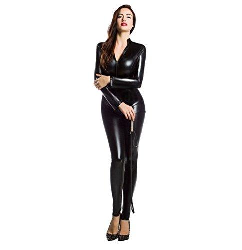 CHENGYANG Damen Catsuit Zentai Kostüm Ganzkörperanzug Bodysuit für Karneval Cosplay Party Anzug Schwarz M (Erwachsene)