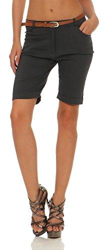 Damen Chino Shorts Kurze Hose Bermuda Pants mit Gürtel (635), Farbe:Steingrau, Grösse:M / 38