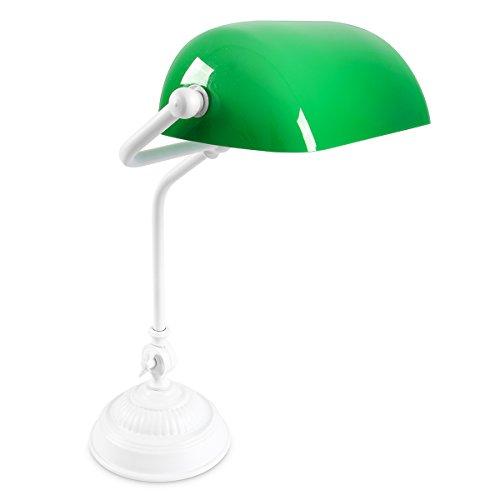 Relaxdays Moderne Bankerlampe, Schreibtischlampe mit Lampenfuß Metall Schwenkbarer Glasschirm, rutschfest, E27 Fassung 26,5 x 43 cm, grün/weiß lackiert 10016605