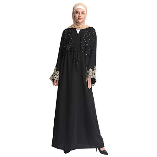 Zegeey Muslimische Damen Robe Kaftan Maxikleid Langarm Rayon Sticken Gewand Formal Modest Abendkleid...