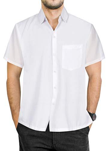 LA LEELA männer Hawaiihemd Kurzarm Button Down Kragen Fronttasche Beach Strand Hemd Manner Urlaub Casual Herren Aloha Valentinstag Weiß_85 3XL Viskose einfach