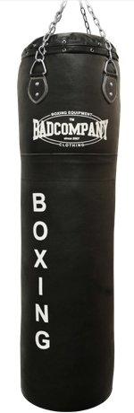 Profi Leder Boxsack schwarz 120 x 35cm ungefüllt inkl. Heavy Duty Vierpunkt-Stahlkette