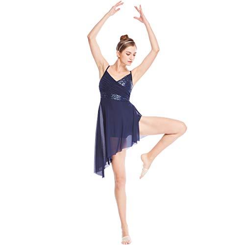 386b1de6d1 MiDee Mädchen V-Neck Paillettenbesetzte Hoch-Niedrig Latin Dress Lyrischen  Tanz - Kostüm (