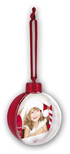 Kit 4 palle di natale - fronte trasparente personalizzabile con foto diametro 7,5 cm e retro rosso