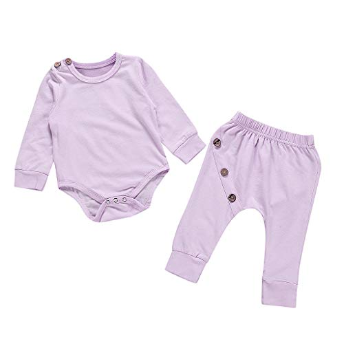 Deloito Kleinkind Babykleidung Kinder Jungen Mädchen Strampler Langarm Blusen Volltonfarbe Schnalle Harness Tops + Hosen Bodysuit Outfits Set (Lila,80/[6-12 Monate])