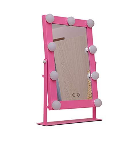 YYHSND Kosmetikspiegel mit LED-Lampen-Beleuchtungssatz Kosmetikspiegel im Hollywood-Stil Wandspiegel (Color : Pink)