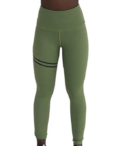 CuteRose Women Solid Cropped Leggings Empire Waist Stretch Yoga Running Pants Green M Womens Low Rise Cropped Pant