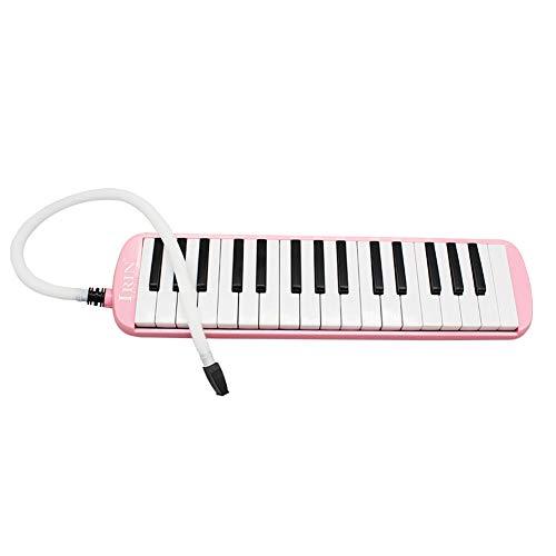 Melodica 32 Tastiere Elegante Portatile a Bocca Soffiato per Bambini Adulti + Boccaglio + Tubo Morbido Flessibile, Colore: rosa