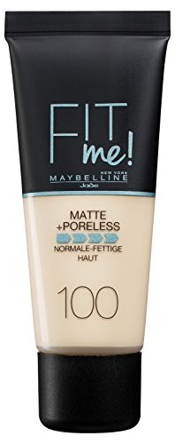 Maybelline New York Fit Me Matte & Poreless Warm Ivory 100, 1er Pack (1 x 30 ml)