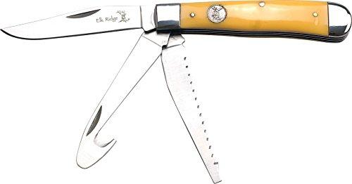 Elk Ridge ER-089 Serie, 3x FUNKTIONEN Taschenmesser Knochen Griff, 8,26 cm Outdoormesser ROSTFREI Klinge für Angeln/ Camping, leichtes 118gr Klappmesser -