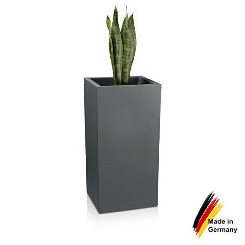 Pot de Fleurs Plastique TORRE 80, 40x40x80 cm, gris basalte mat