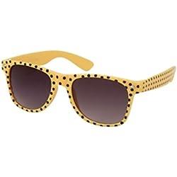 Sonnenbrille 50er Rockabilly Style gelb Punkte