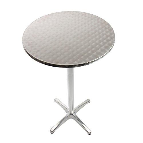 Vanage Stehtisch Bistrotisch in silber - der Bartisch ist höhenverstellbar - Aluminiumtisch gut geeignet als Beistelltisch oder Partytisch im Garten - 3