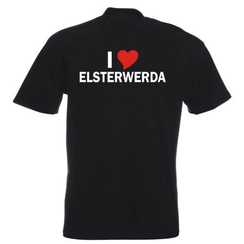 T-Shirt mit Städtenamen - i Love Elsterwerda - Herren - unisex Schwarz
