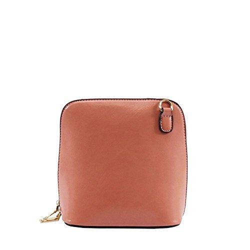 Haute für Diva S NEU einfarbig Kunstleder Damen klein Umhängetasche Schulter Handtasche - Dunkelgrün, Small Rosa