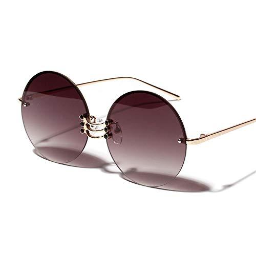 Vintage Sonnenbrillen, Metal Round Sunglasses Women Retro Vintage Summer Frameless Sun Glasses Big Frame Male NEW Uv400 Gold Metal as show in photo gold with black ()