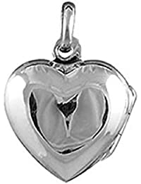 Helios Bijoux - Colgante portafoto de plata maciza, 2,60 g. Diseño de corazón (modelo pequeño)