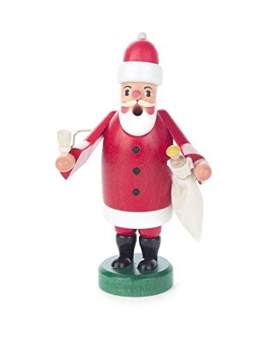 Pinnacle Peak Trading Company Santa Claus with Sack Miniature German Wood Christmas Incense Smoker 5 Inch