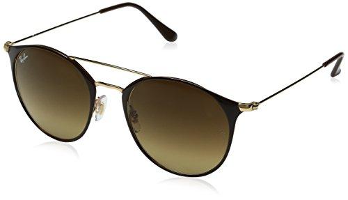 Ray-Ban Unisex-Erwachsene Sonnenbrille Rb 3546 Gold Top Brown/Browngradient, 52