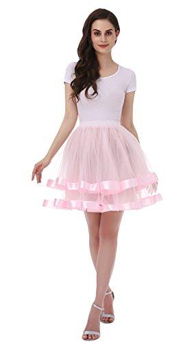 Tsygirls 50er Vintage Retro Ballettrock Unterrock Kurz Tutu Röcke Unterrock Unterrock Pettiskirt Petticoat Rosa Größe S-M