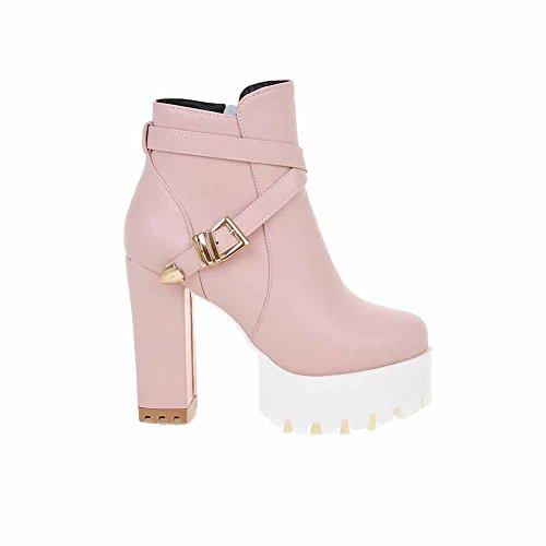 AgooLar Damen PU Rund Zehe Reißverschluss Hoher Absatz Stiefel, Pink-Wasserdicht Plattform, 38