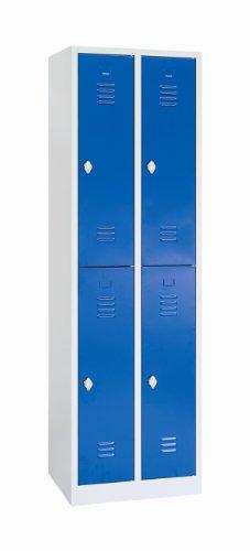 Schließfachschrank Wertfachschrank Fächerschrank Spind Umkleideschrank 4 Fächer-Spint 523221 blau Maße:1800 x 800 x 500 mm (Höhe x Breite x Tiefe) kompl. montiert und verschweißt