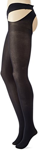 Cottelli Collection Stockings & Hosiery - sexy Strümpfe mit Taillenhalter für sie, verführerische Strümpfe mit offenem Schritt, ouvert, schwarz