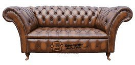 Chesterfield Balmoral 2 Seater Sofa Settee Antique Tan Leather from Chesterfield