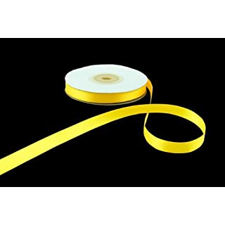 10mm x 25m Yellow Double Sided Satin Ribbon by Anycraft-UK
