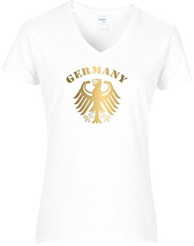 BlingelingShirts Damen WM Shirt Deutschland Fussball Bundesadler Germany Schriftzug Deutschland 2018, T-Shirt, Grösse L, Weiss