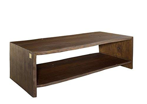 Table basse 150x70cm - Bois massif d'acacia laqué (Brun classique) - Design naturel - LIVE EDGE #009