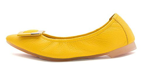 GLTER SCARPE DONNA Ballet pieghevoli Shallow Scarpe Leathermouth ha il fondo piatto a base di uova Donne Rolls'S pieghevole scarpe scarpe da ballo Scarpe Yellow