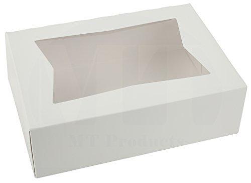 20,3cm Länge x 53/10,2cm Breite x 21/5,1cm Höhe weiß Kraft Karton auto-popup Fenster Gebäck/Bakery Box by MT Produkte (15Stück) (Cupcake-container Single)