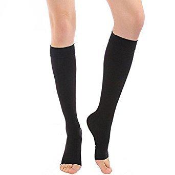 Medias de compresión para las venas varicosas Open Toe 15-20 mmHg mangas de compresión de la pierna (1 par) para Corredor de baloncesto de ciclismo Crossfit- medias de soporte de compresión Premium para las mujeres y los hombres, Negro