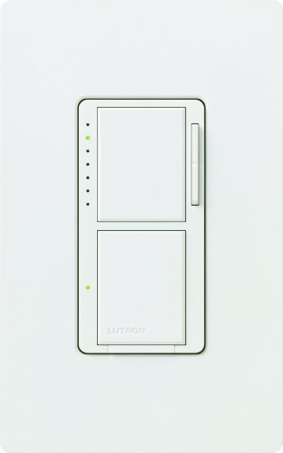 Lutron MA-L3S25HW-WH Maestro 2.5-Amp 300-watt Single Pole Dual Dimmer and Switch, White by Lutron -