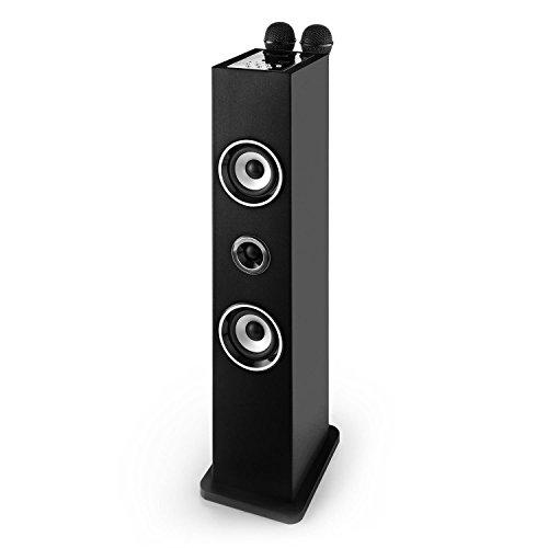 auna Karaboom Karaoke para niños • Set de Karaoke Infantil • Duetos • Torre de Sonido con micrófonos • Bluetooth • Puerto USB • Entrada AUX • Reproduce música MP3 • Soporte micrófonos • Negro