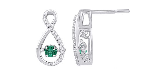 AFFY  -  925 Sterling-Silber  18K weißvergoldetes Silber Rundschliff   grün Diamant Émeraude  - Diamant-ring Dancing