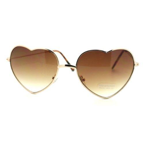 Vision World Eyewear Kleine Dünne Metallherzförmigen Rahmen Amor Sonnenbrille Für Herren (Gold Amber)