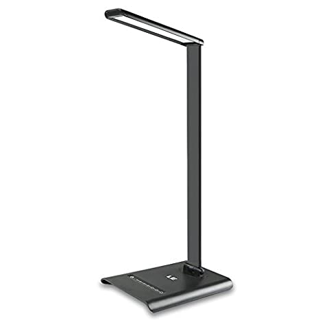 LE Dimmable LED Desk Lamp, 7 Brightness Levels, Eye Protection Design Reading Lamp, Touch Sensitive Control, 6W Folding Table Lamp, Daylight White, Bedroom Lamp, Black